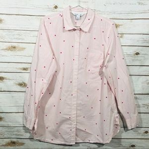 Old Navy long sleeve pink striped button down top